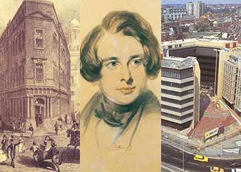 SunLife history montage showing The Royal Exchange, London, Charles Dickens and the Bristol SunLife court office