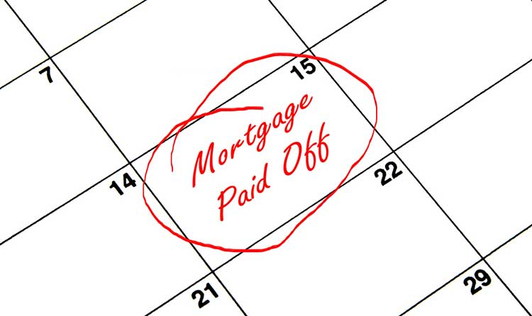 calendar with entry mortgage paid off