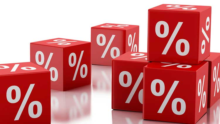 red cubes with percentage signs on