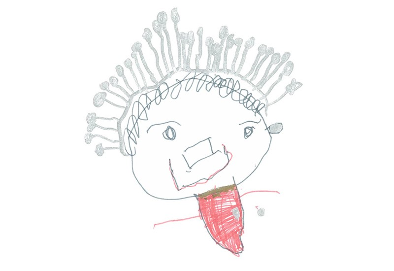 Childrens drawing of a female celeb with short grey hair and a red dress.