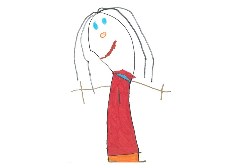 Childrens drawing of a female celeb with long dark hair, blue eyes and wearing a red dress.