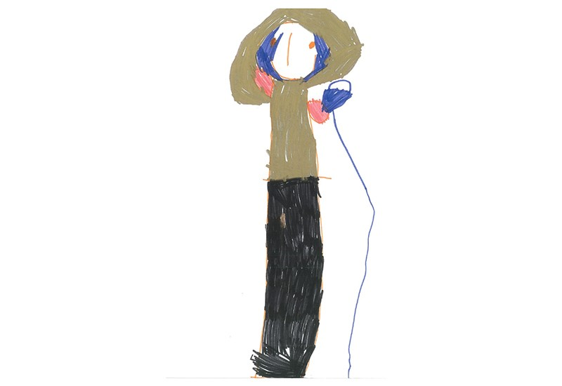 Childrens drawing of a female celeb singing in to a microphone in a brown hooded top and dark skirt.