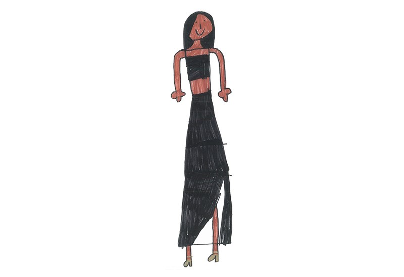 Childrens drawing of a female celeb with dark skin and long dark hair, wearing a black strapy crop top and a long black skirt.