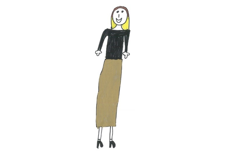 Childrens drawing of a female celeb with brown hair and blond tips, wearing a black long sleeve top and a brown full length skirt with black heals.