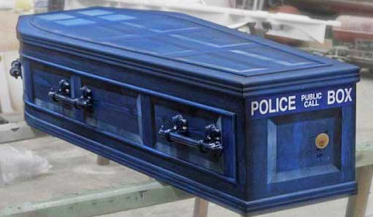 a coffin decorated to look like doctor whos tardis