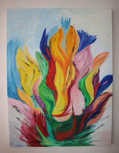 Vibrant abstract artwork painted using cremation ash oils