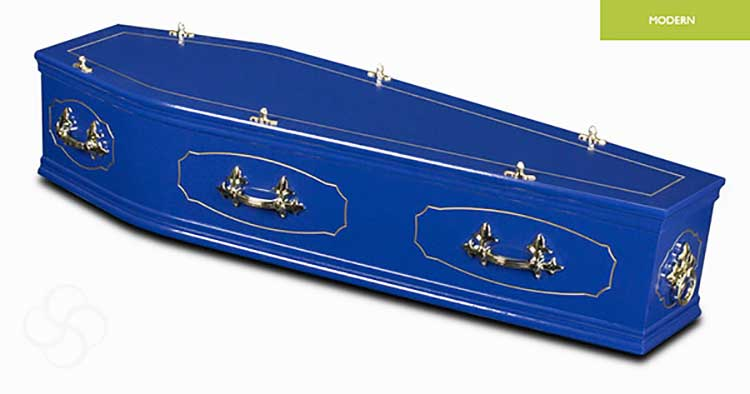a blue gloss coffin with inlaid lid and panels
