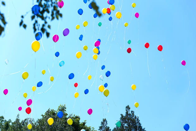 Balloons being released in a person's memory.