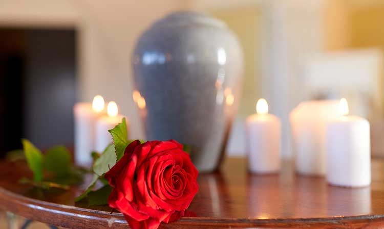 red rose on a table with an urn and candles