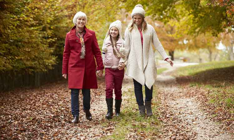 Over 50 plans: 3 generations of women walking together