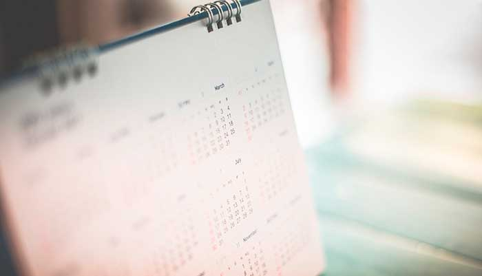 blurred view of a calendar