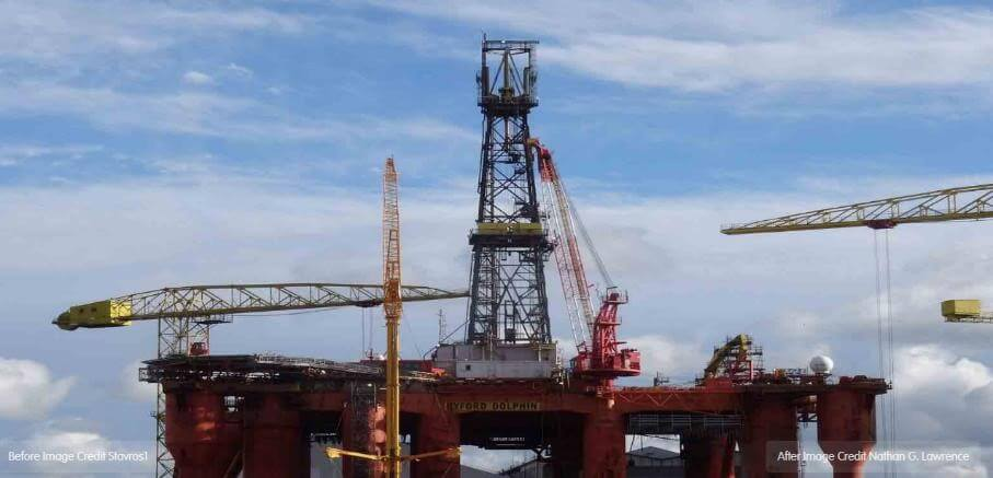 A colour image of a modern rig in Belfast port today.