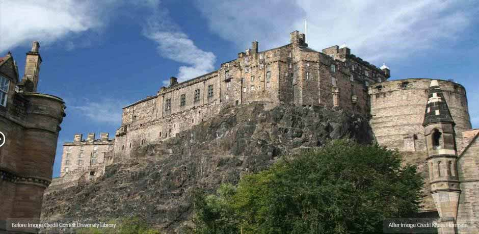 A colour image of Edinburgh castle in the present day.
