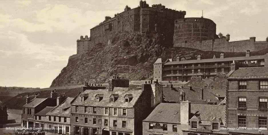 An old black and white image of Edinburgh castle.
