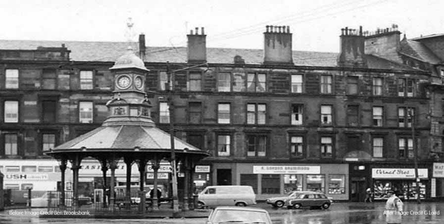 A black and white image of a Glasgow street with a pavilion and a clock on top.
