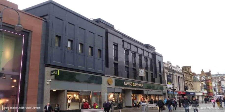 A present day colour image of a Leeds high street with Marks and Spencer in focus.