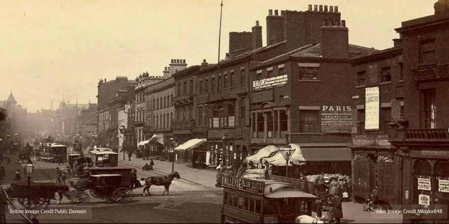 A sepia image of a Leeds street with horse drawn carriages as the main form of transport.