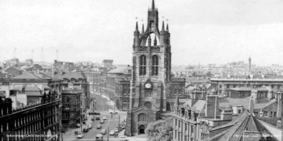 A black and white image of a cathedral in Newcastle in the past.