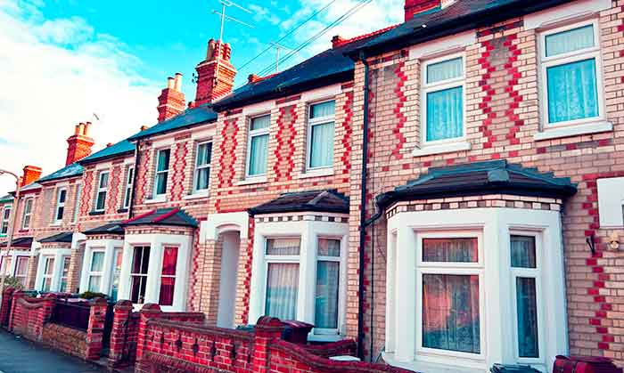Terraced houses on a UK street
