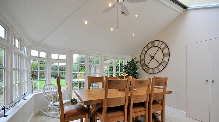 conservatory set up as a dining room