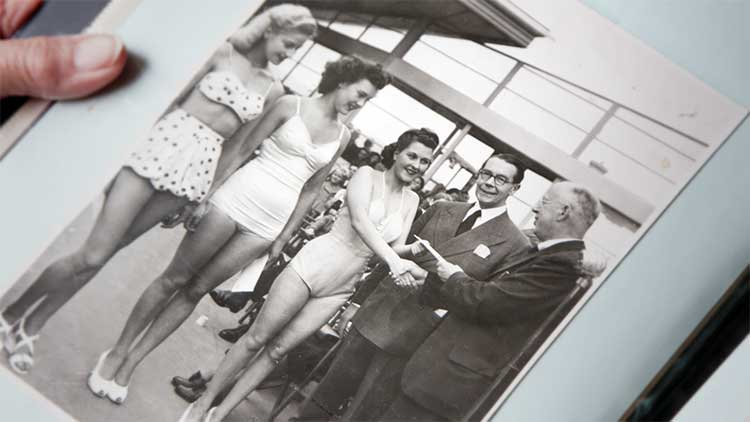 a black and white photo of Gladys winning the first ever Miss Bristol in 1948