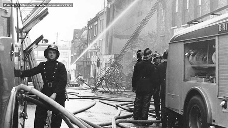 nostalgic black and white photo of the avon fire and rescue service