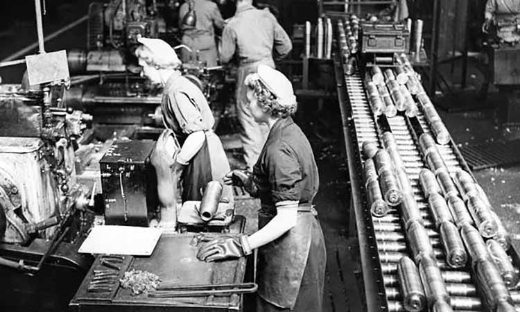 women working on a production line at an ammunitions factory