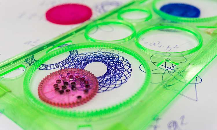 spirograph toy on paper