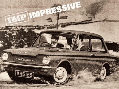 Black and white picture of and old Ford car being driven through a puddle with the words IMP Impressive above it all in capitals.