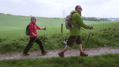Liz and Garry Nordic walking